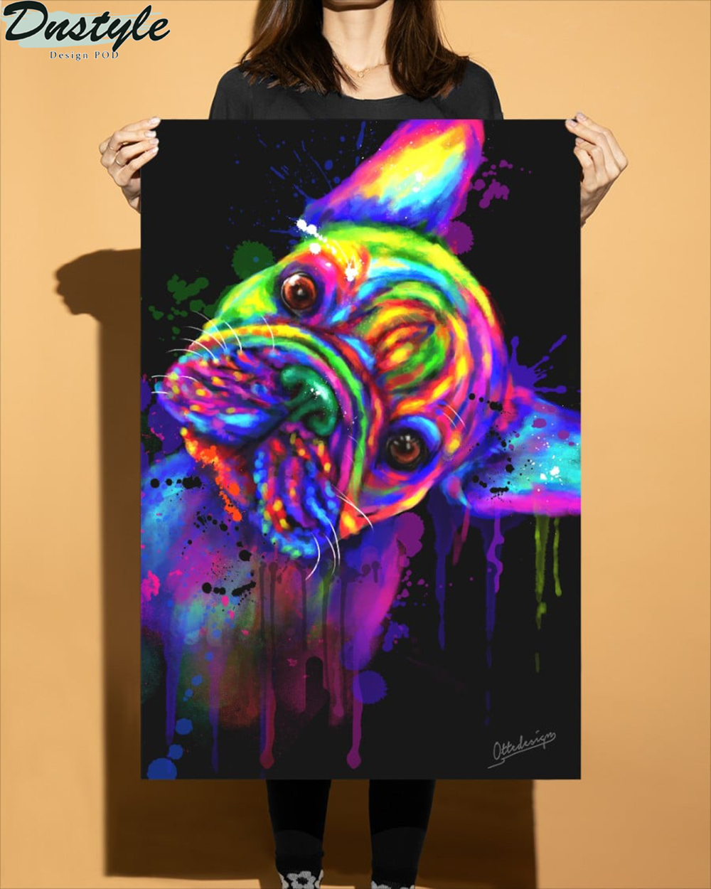 Friench Bulldog water color poster and canvas 1