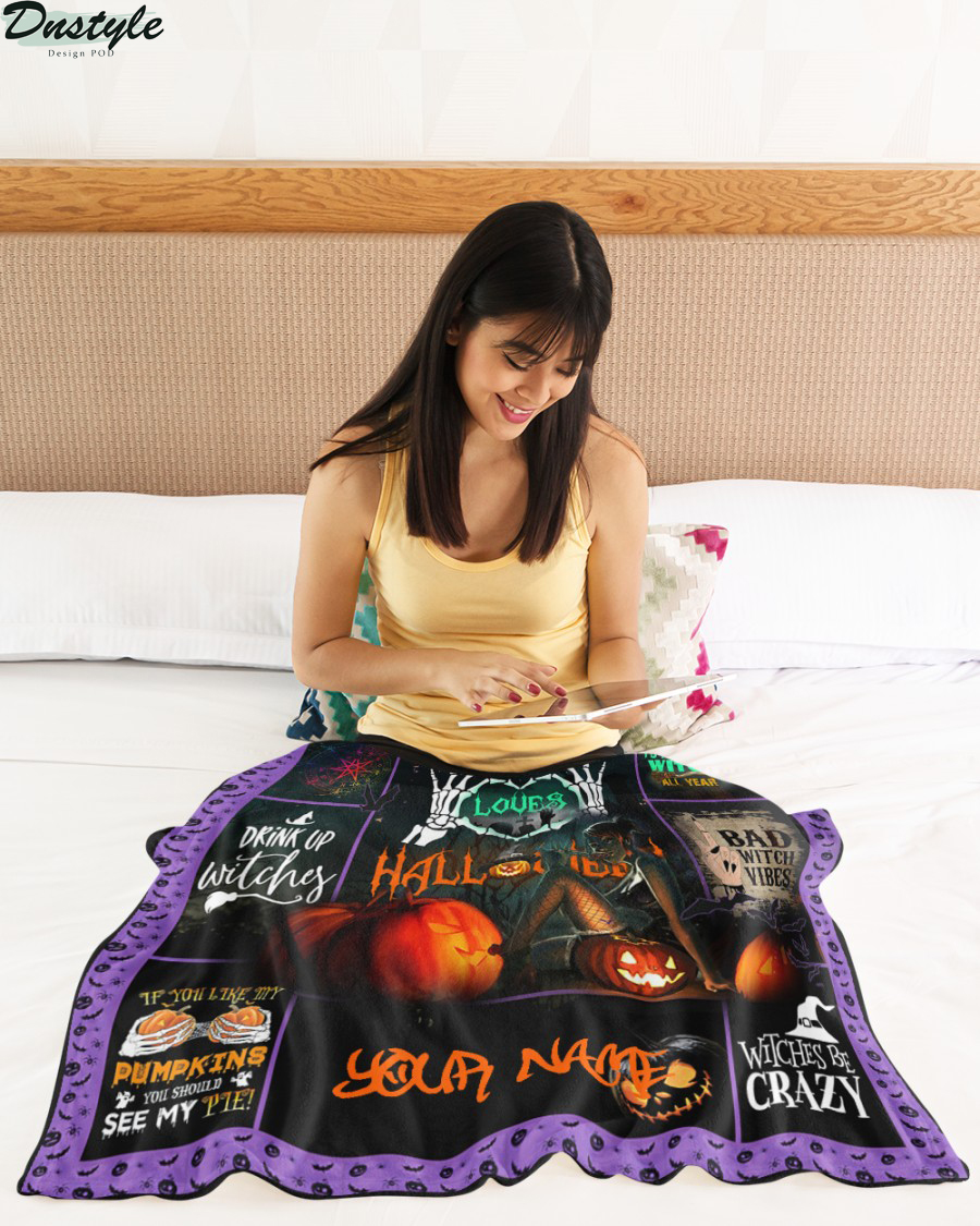 Halloqueen this girl loves halloween personalized blanket 2
