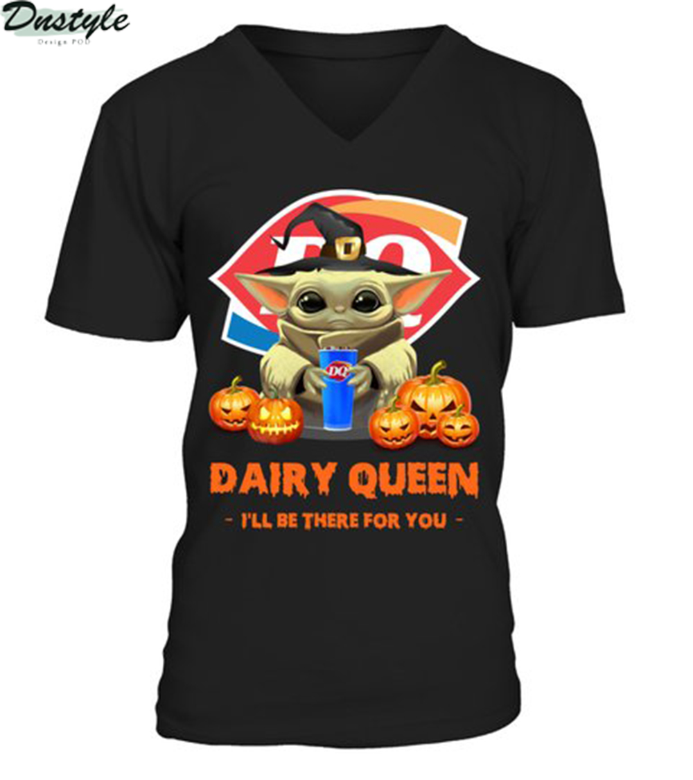 Halloween baby yoda dairy queen I'll be there for you v-neck