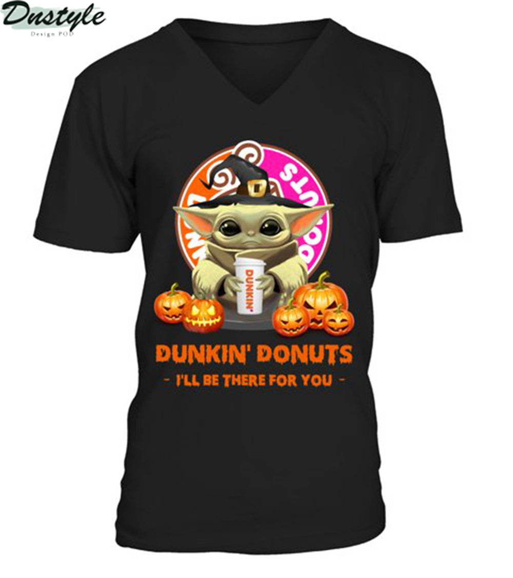 Halloween baby yoda dunkin donuts I'll be there for you v-neck