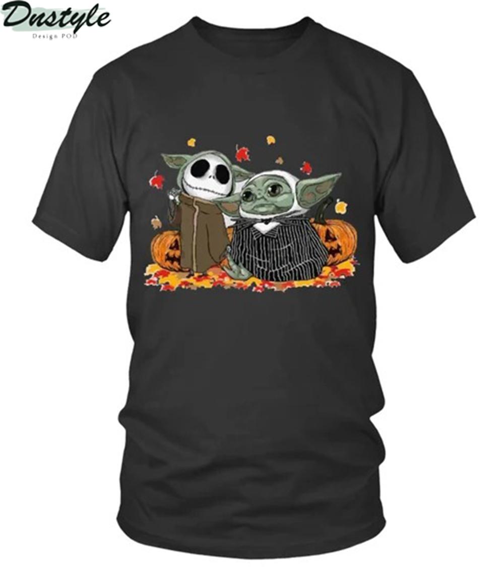 Halloween baby yoda jack skellington the nightmare before christmas shirt 1