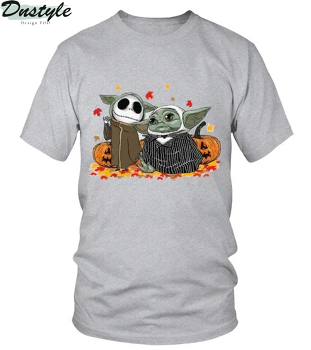 Halloween baby yoda jack skellington the nightmare before christmas shirt