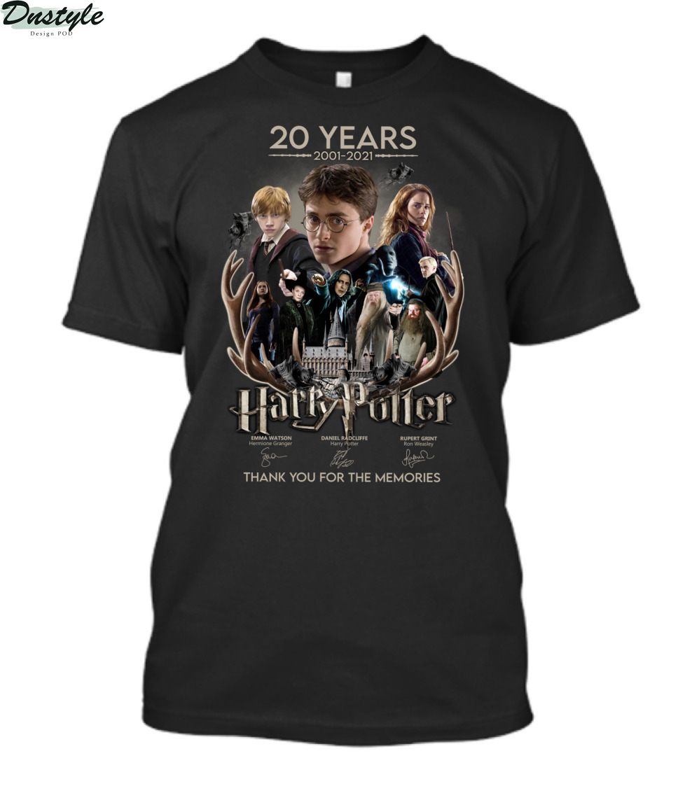 Harry Potter 2001 2021 signature thank you for the memories shirt