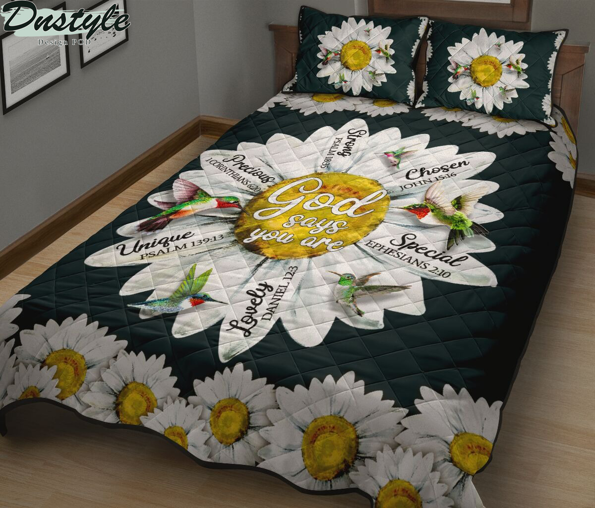 Hummingbird daisy god says you are quilt bed set 1