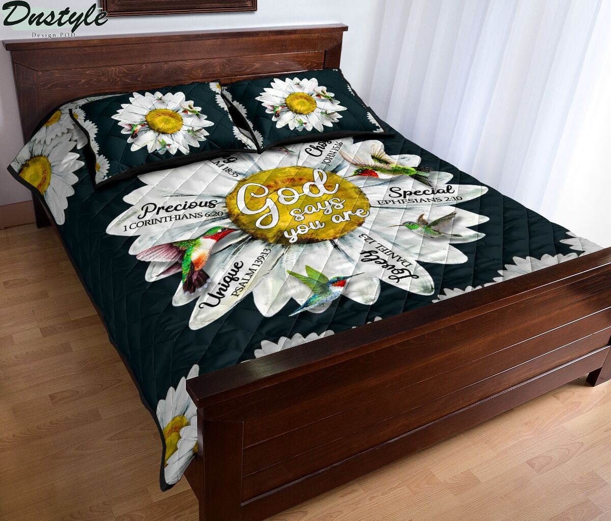 Hummingbird daisy god says you are quilt bed set 2