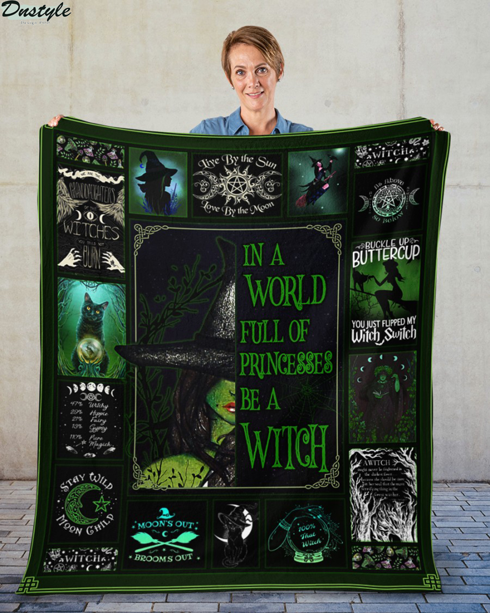 In a world full of princesses be a witch halloween blanket 1