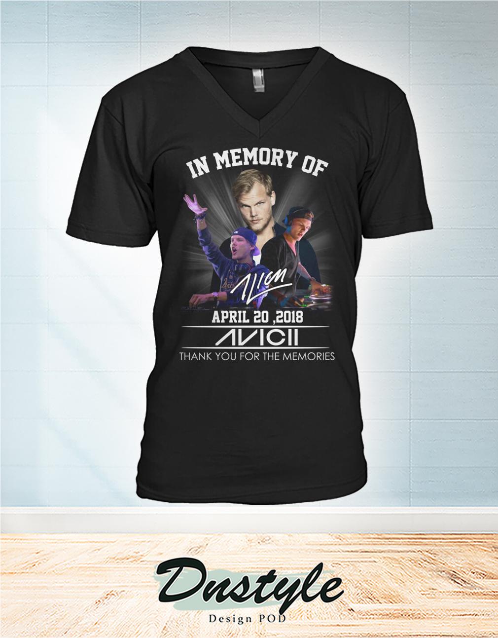 In memory of Avicii april 20 2018 thank you for the memories v-neck
