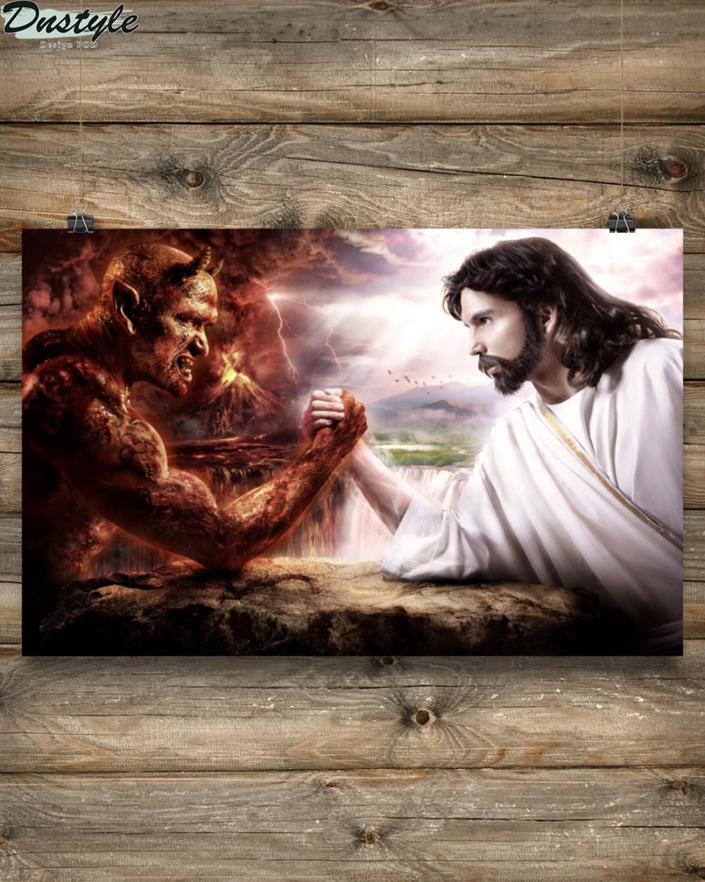 Jesus god vs devil poster 2
