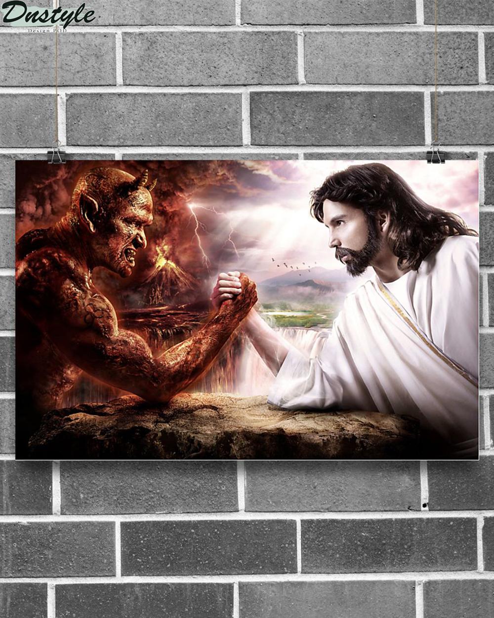 Jesus god vs devil poster