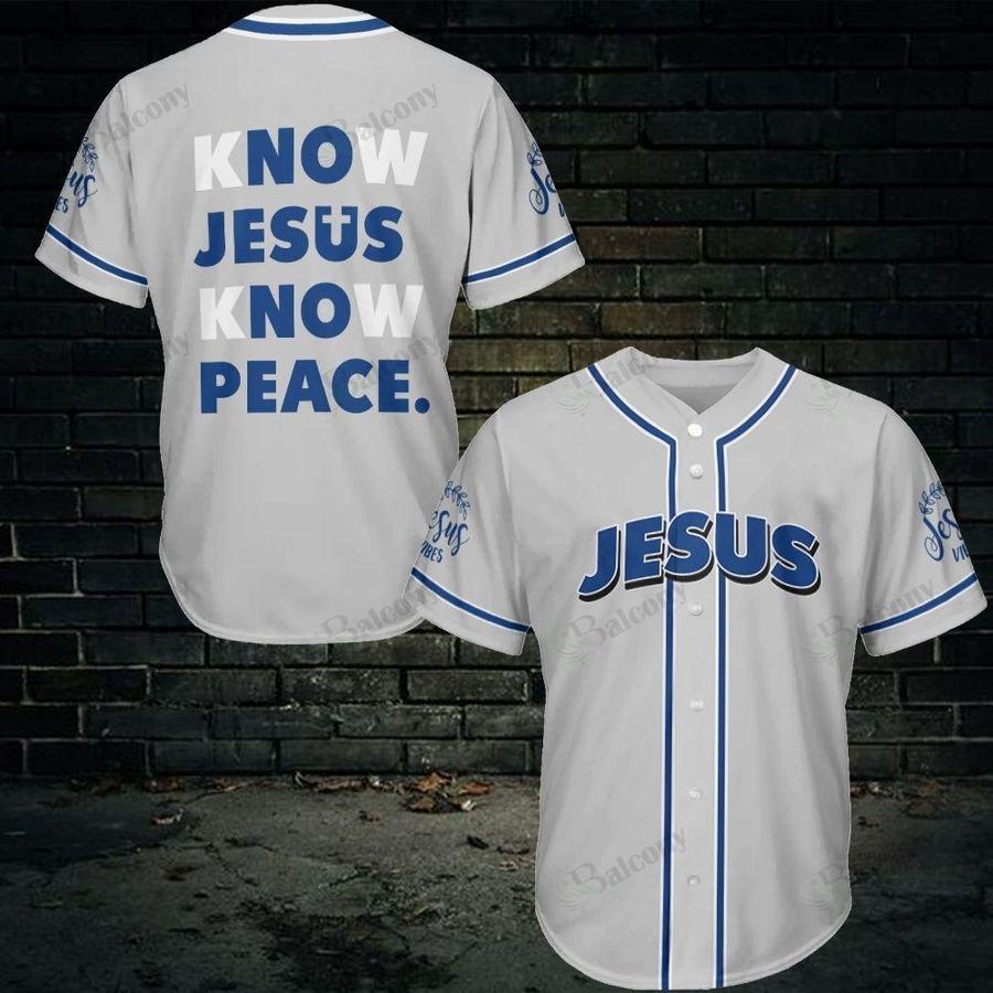 Jesus know jesus know peace baseball jersey
