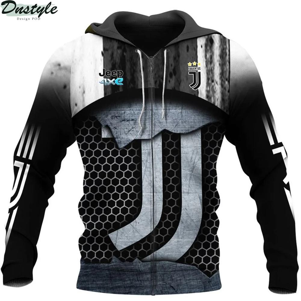Juventus 3d all over printed zip hoodie