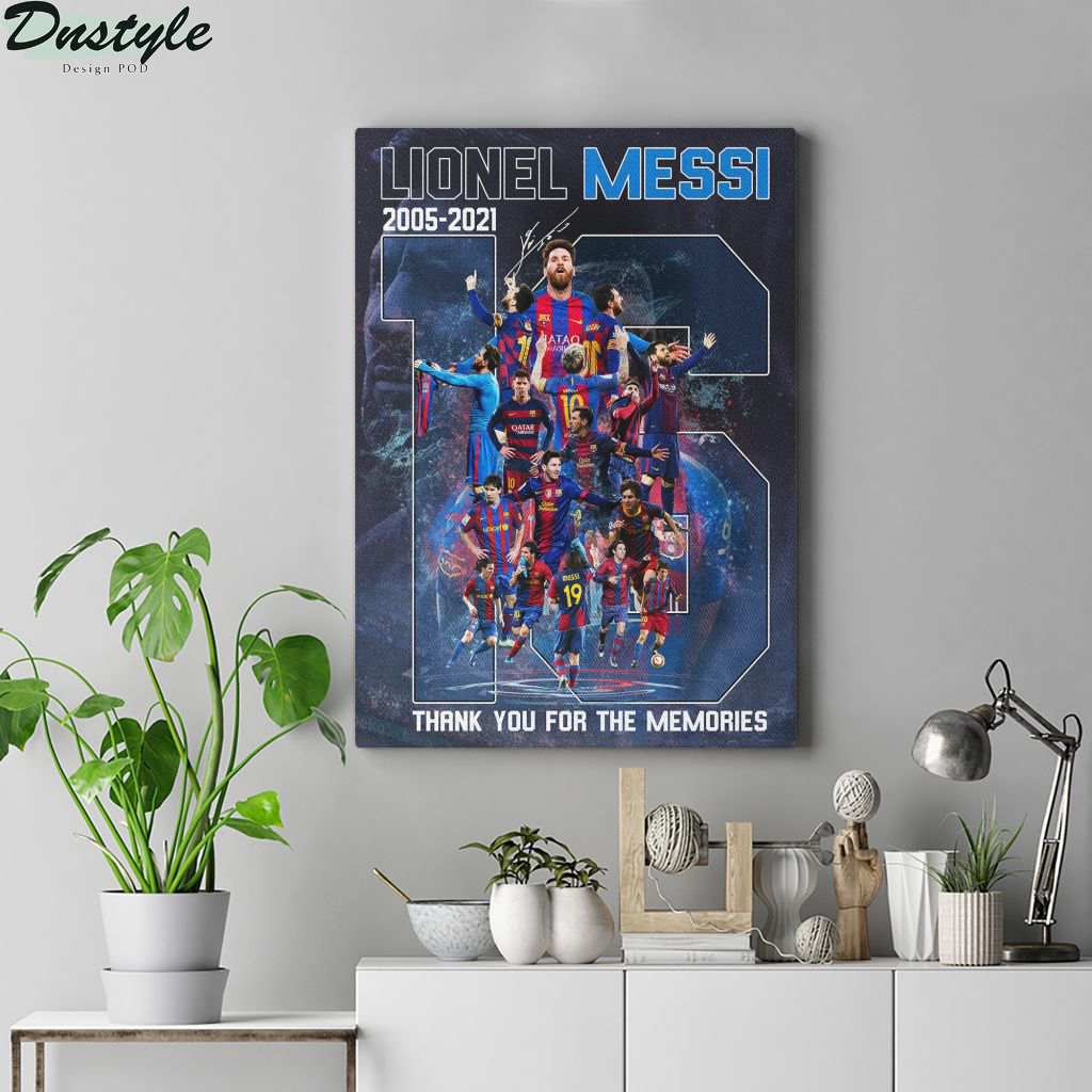 Lionel Messi 16 years signature thank you for the memories poster