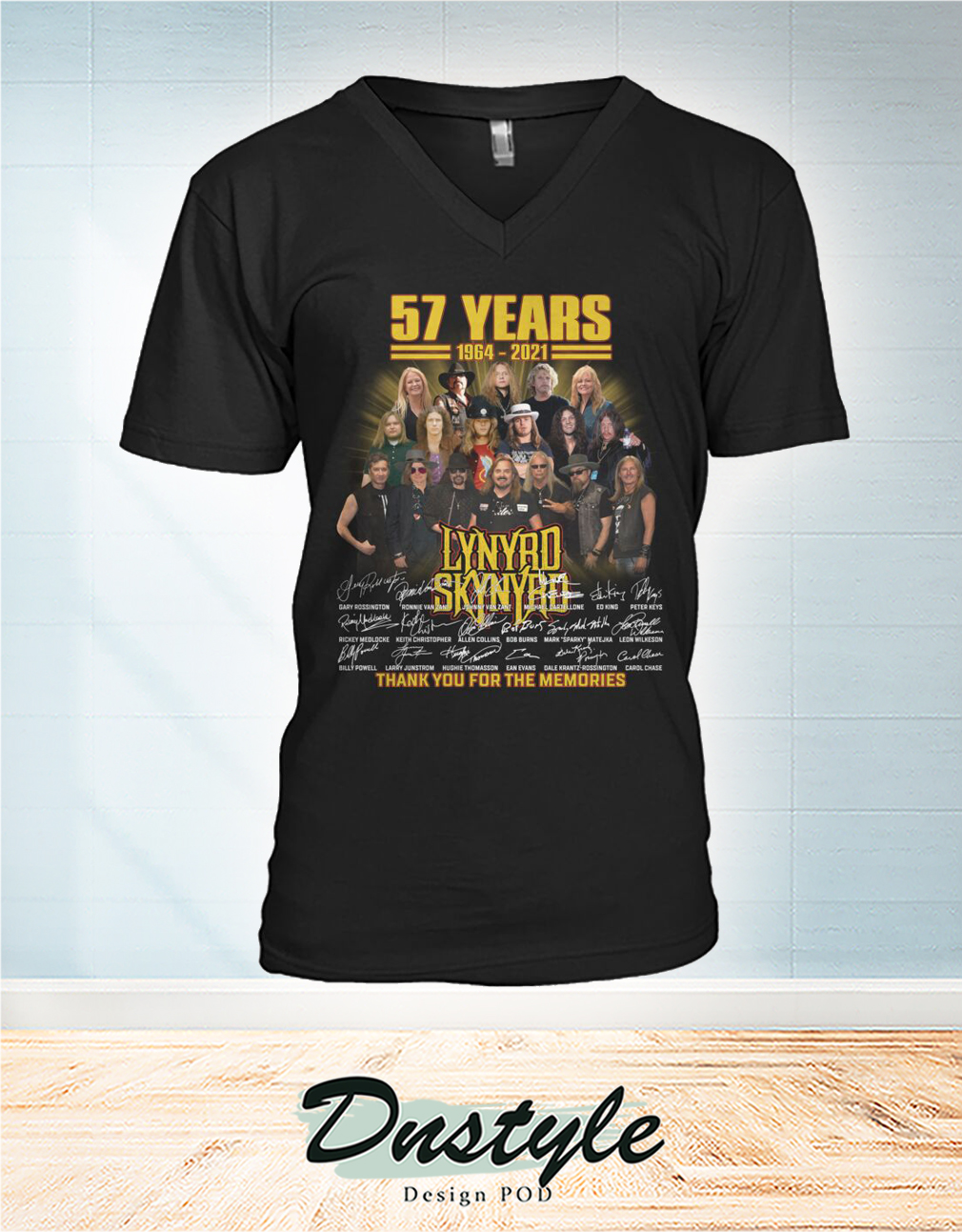 Lynyrd Skynyrd 57 years signature thank you for the memories v-neck