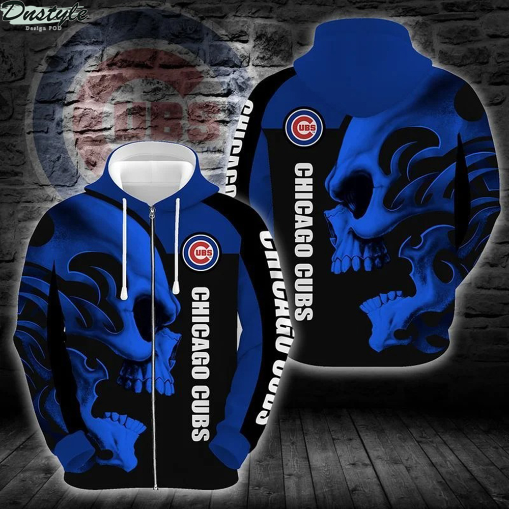 MLB chicago cubs skull 3d all over printed zip hoodie