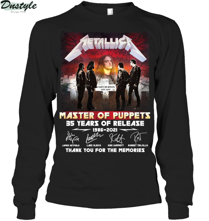 Metallica master of puppets 35 years of release thank you for the memories long sleeve