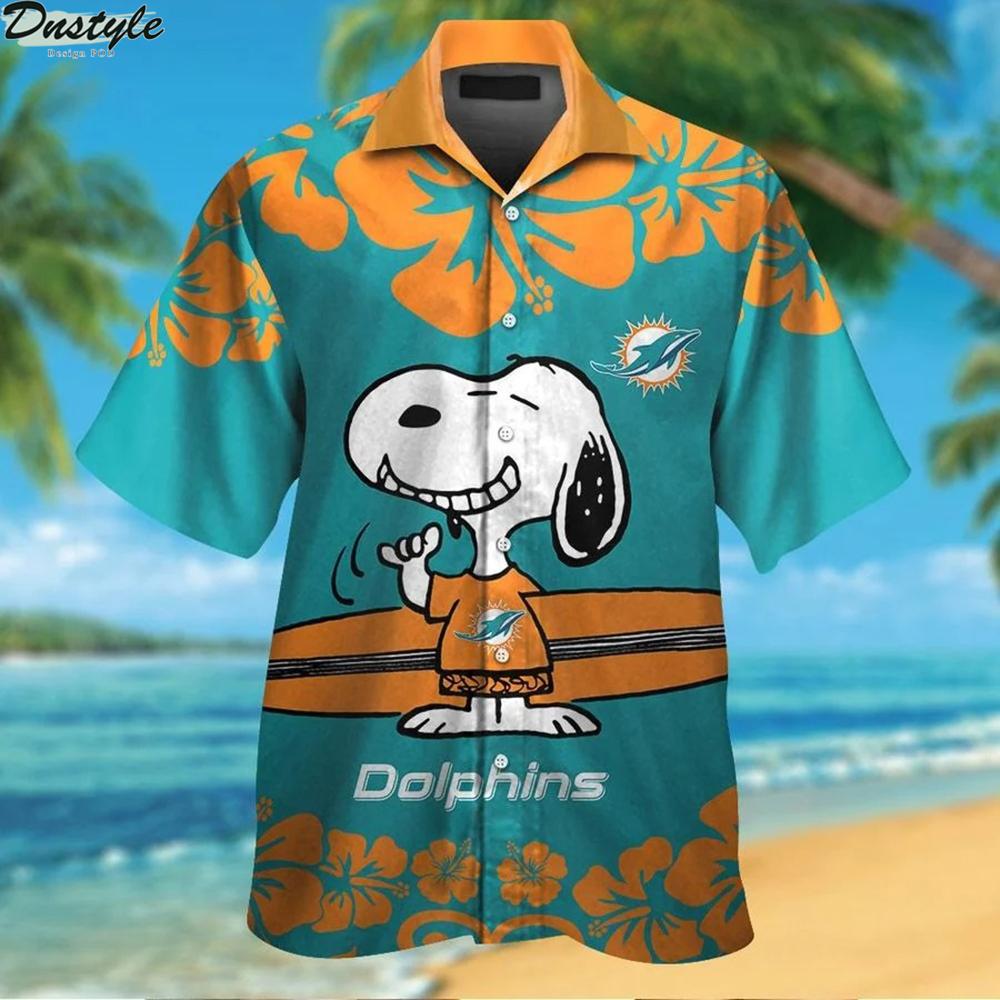 Miami dolphins and snoopy hawaiian shirt 1