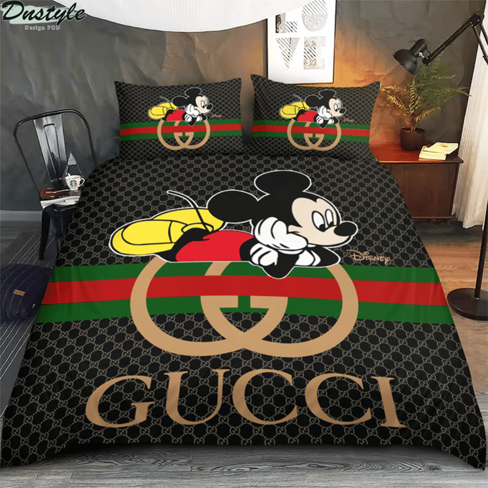 Mickey disney Gucci 3d bedding set