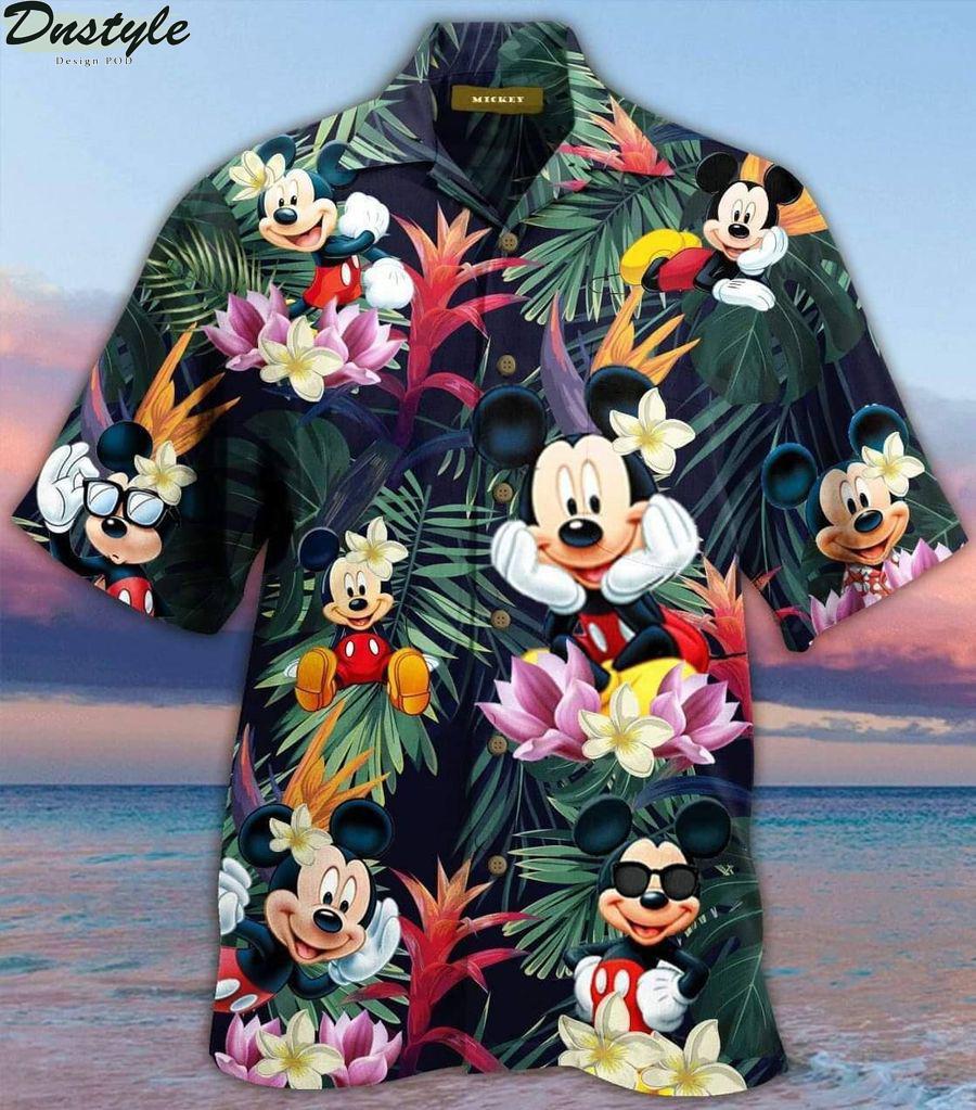 Mickey mouse summer button up hawaiian shirt 1