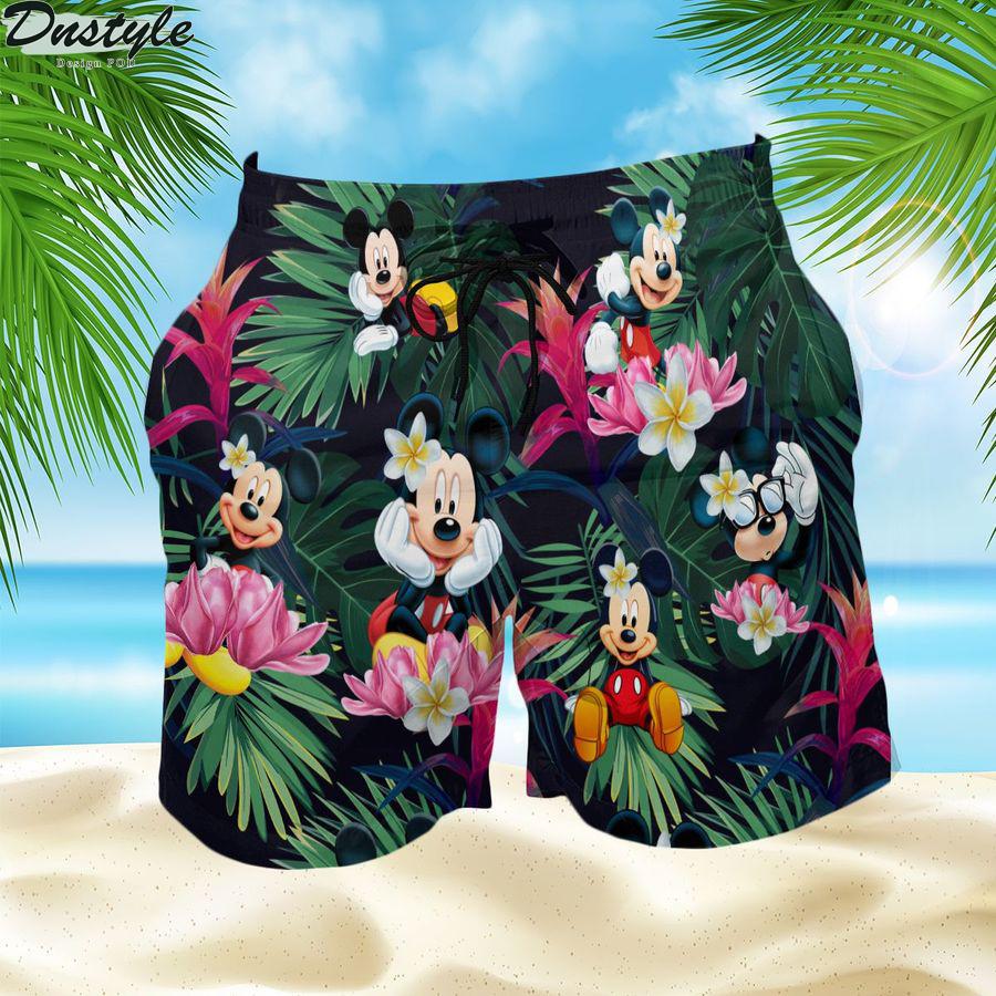Mickey mouse summer button up hawaiian short