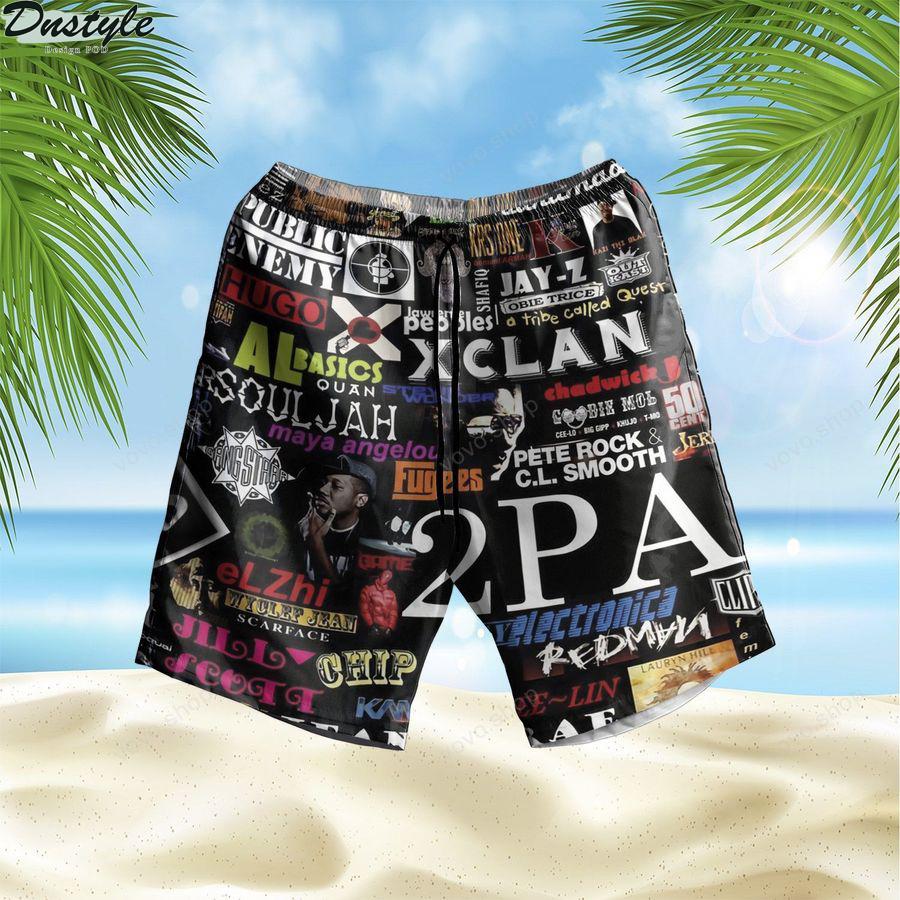 Music Rock Bands Pattern Summer Hawaiian Short