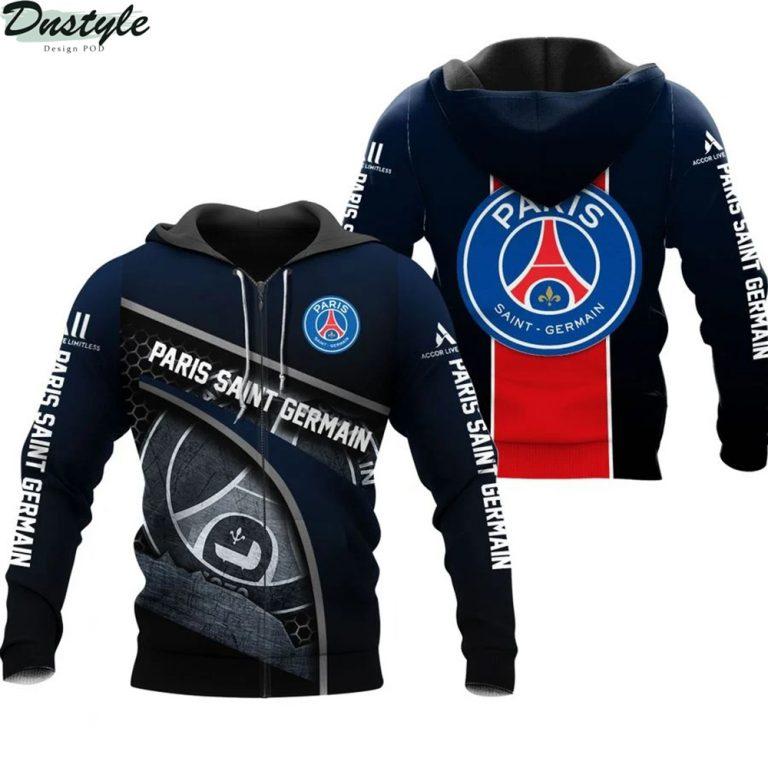 Paris saint germain 3d all over printed zip hoodie 1