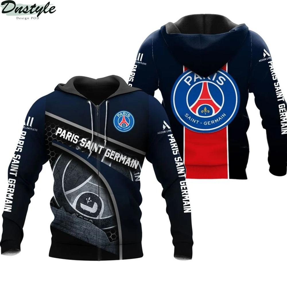 Paris saint germain 3d all over printed zip hoodie