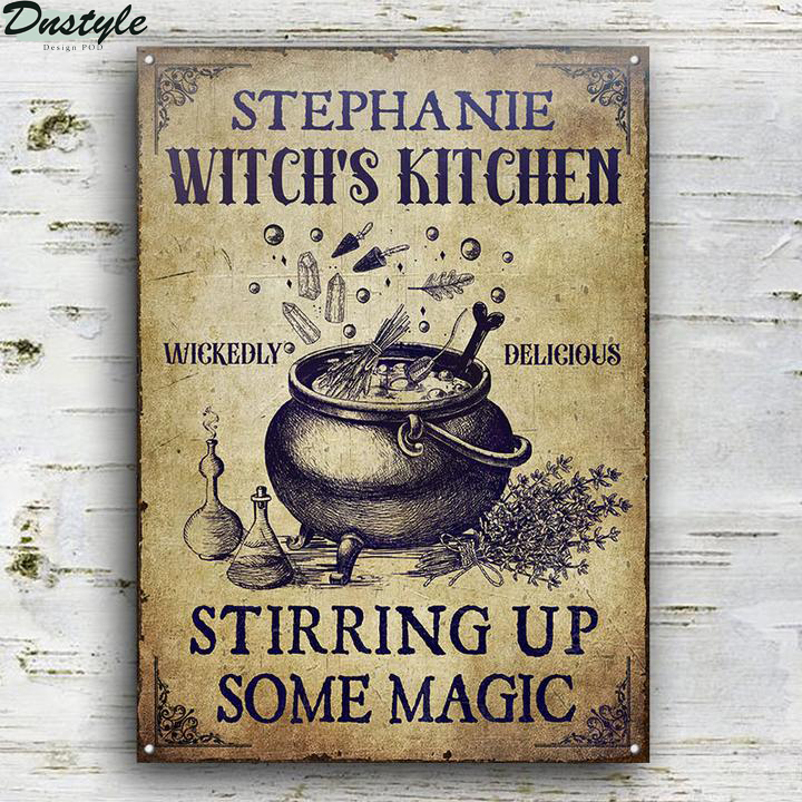 Personalized Witch Kitchen Stirring Up Some Magic Custom Halloween Metal Sign 1