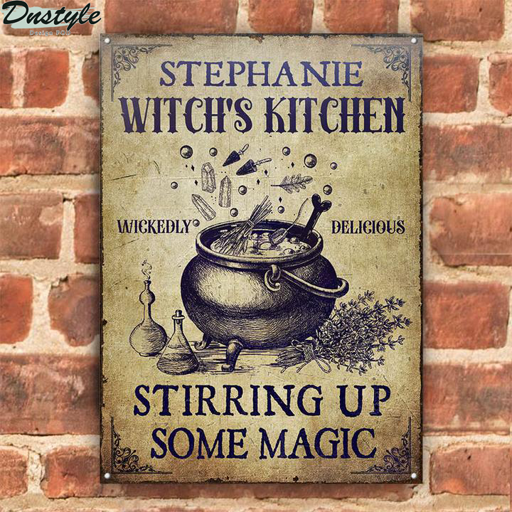 Personalized Witch Kitchen Stirring Up Some Magic Custom Halloween Metal Sign 2