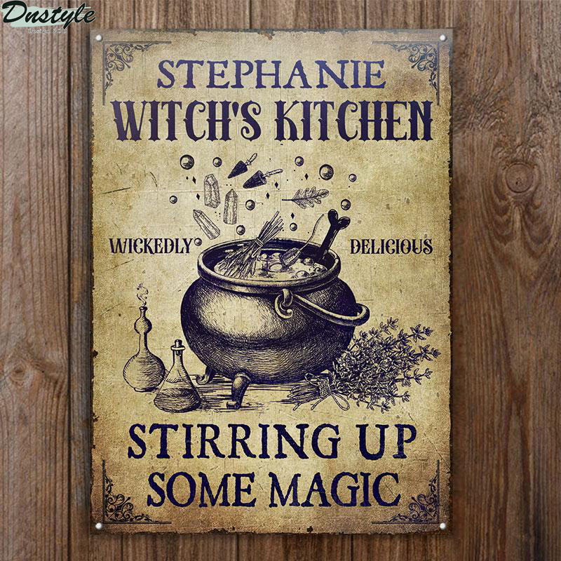 Personalized Witch Kitchen Stirring Up Some Magic Custom Halloween Metal Sign