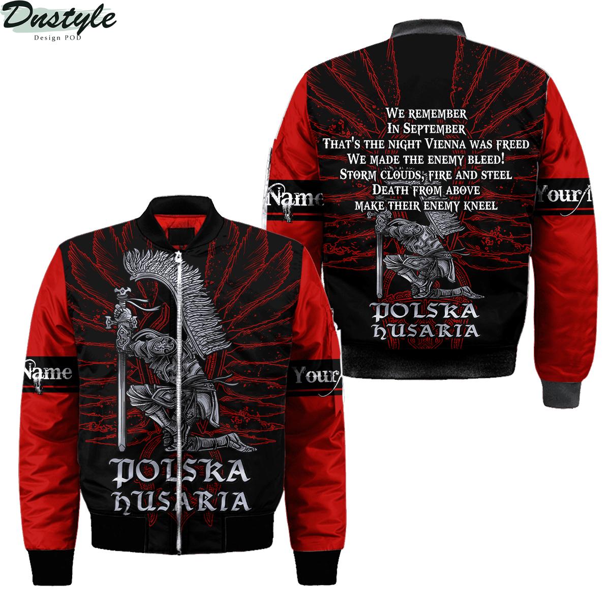 Personalized custom name polska husaria 3d all over printed bomber jacket