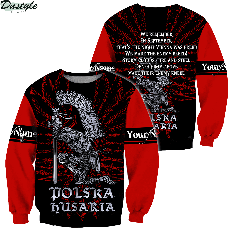 Personalized custom name polska husaria 3d all over printed sweatshirt