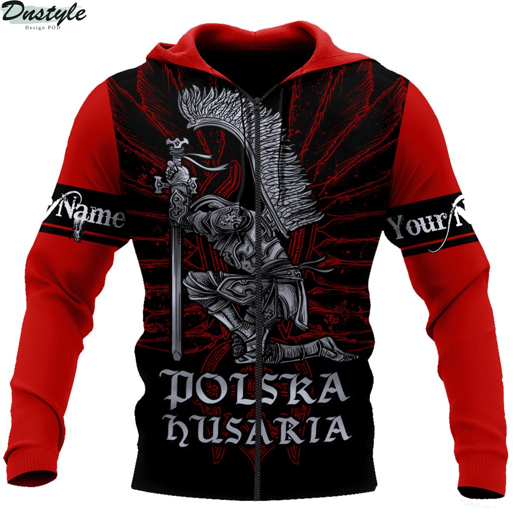 Personalized custom name polska husaria 3d all over printed zip hoodie