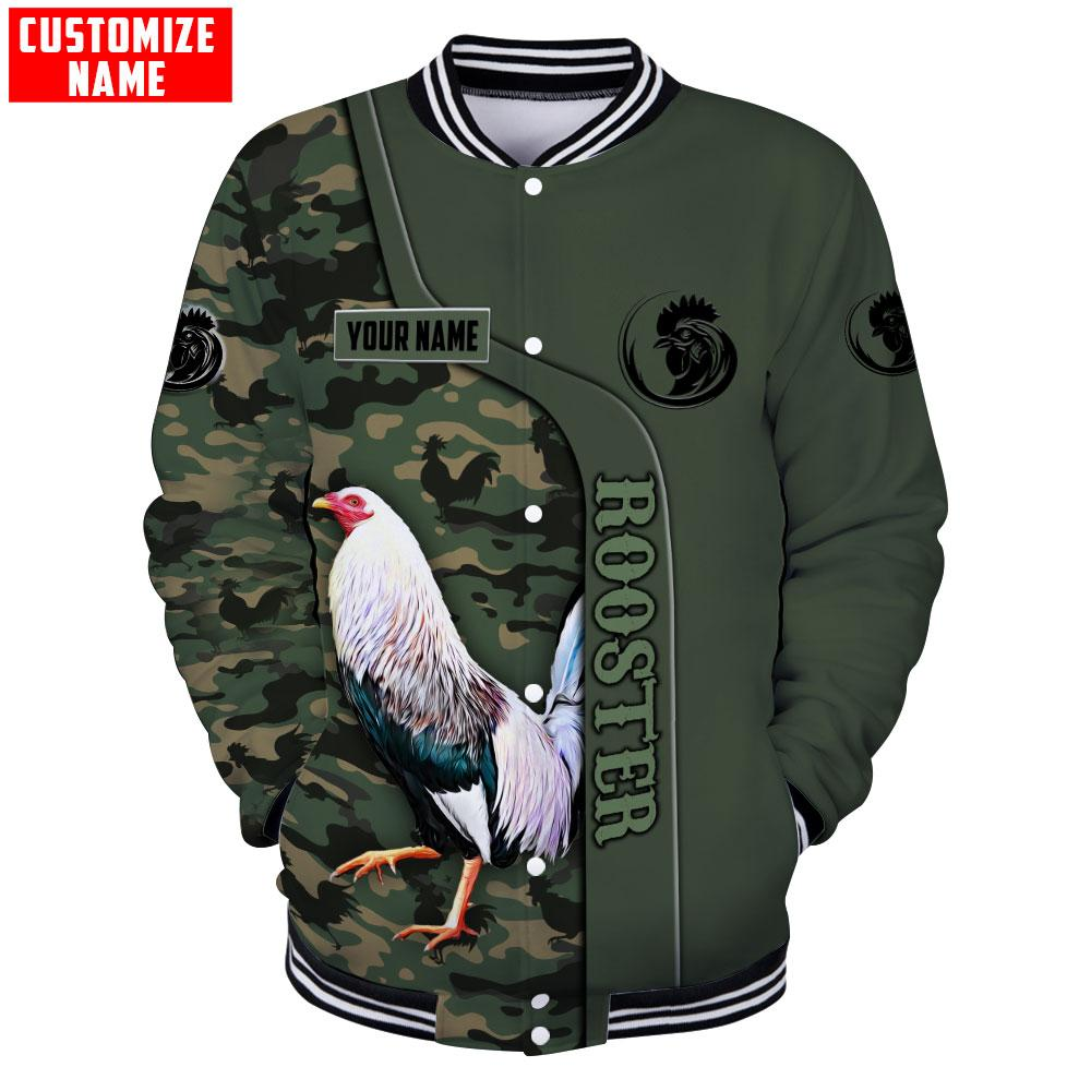 Personalized custom name rooster 3d all over printed bomber jacket