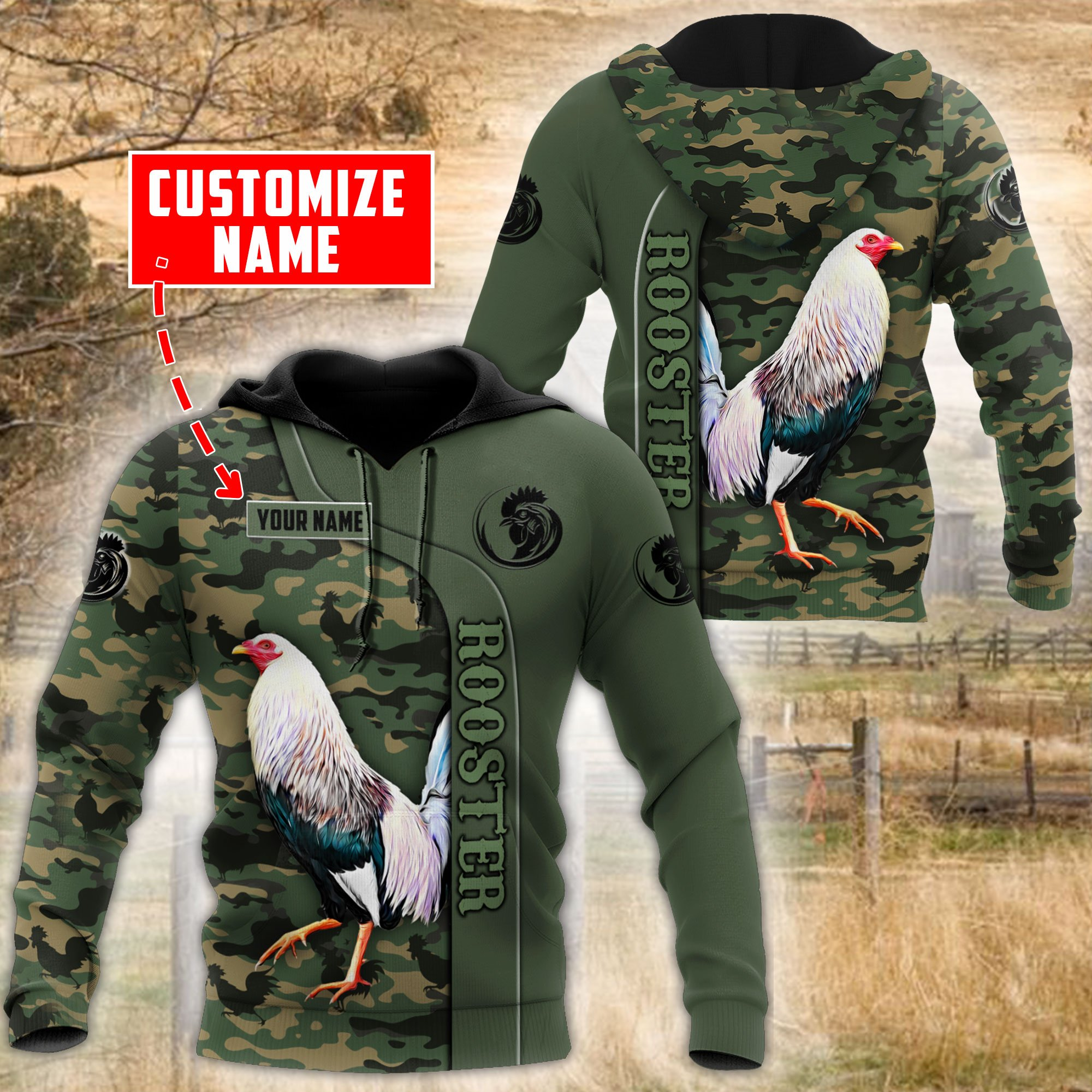 Personalized custom name rooster 3d all over printed hoodie