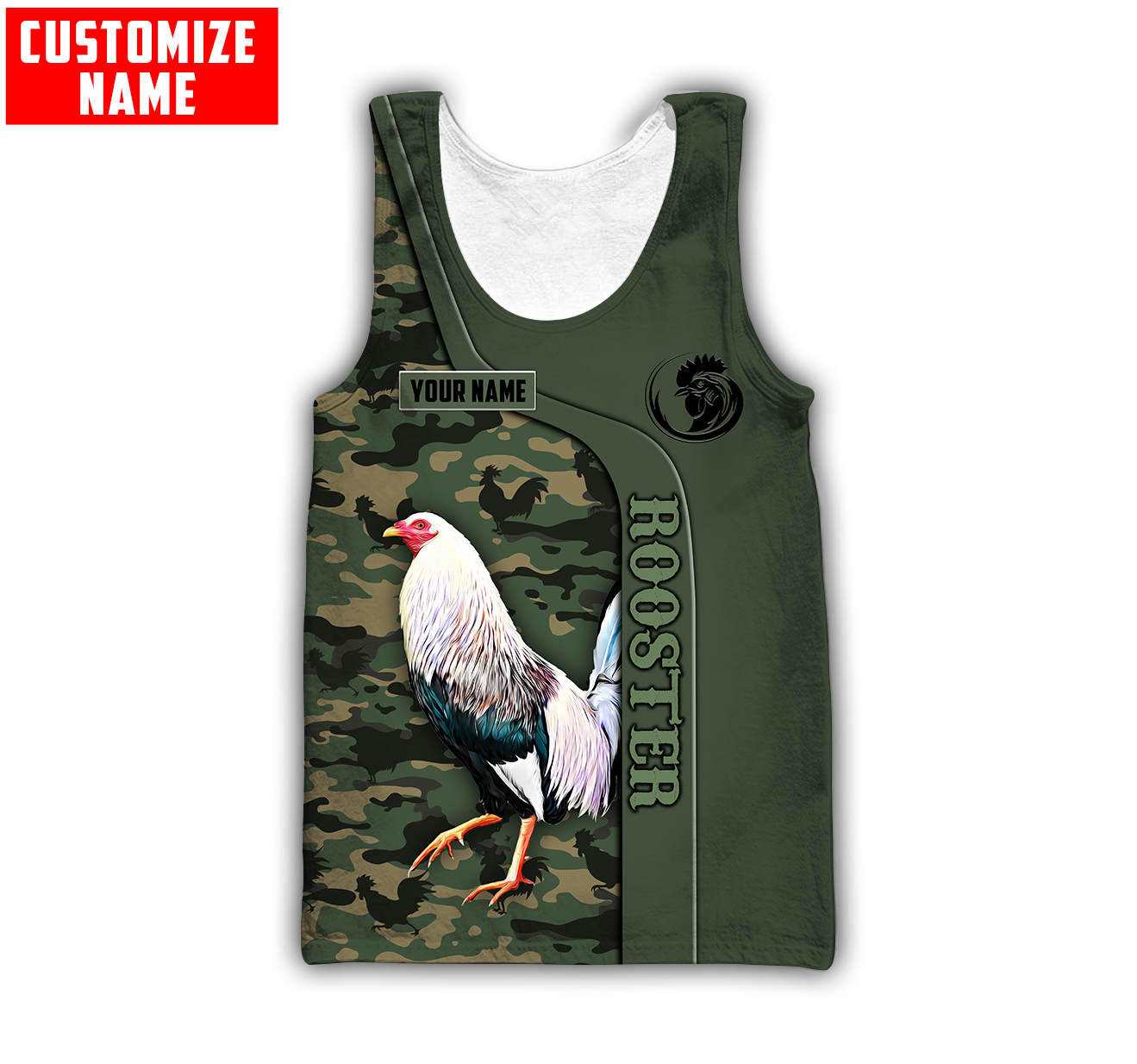 Personalized custom name rooster 3d all over printed tank top