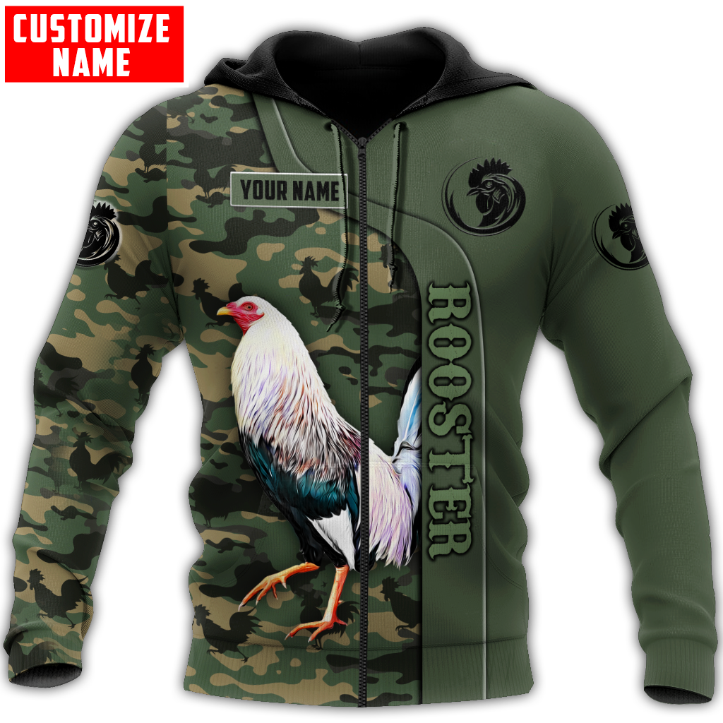 Personalized custom name rooster 3d all over printed zip hoodie