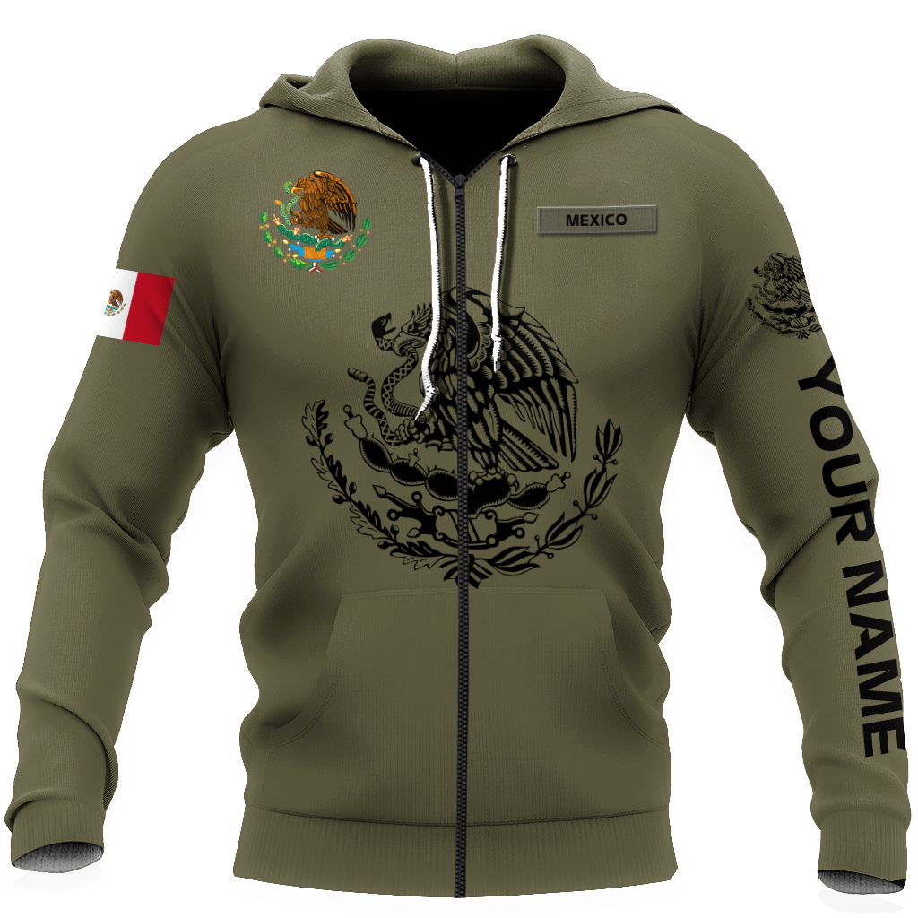 Personalized mexican 3d all over printed unisex zip hoodie