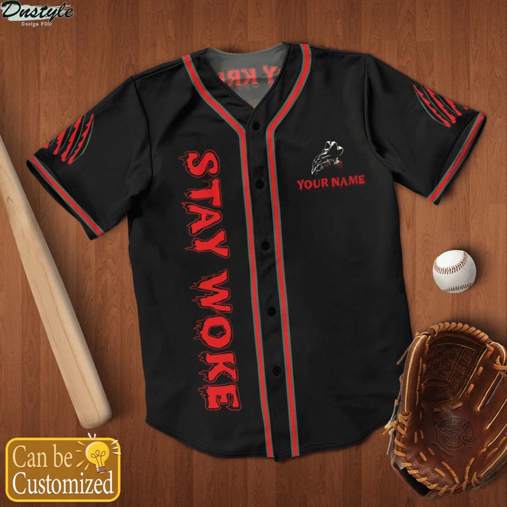 Personalized name freddy krueger stay woke baseball jersey 1