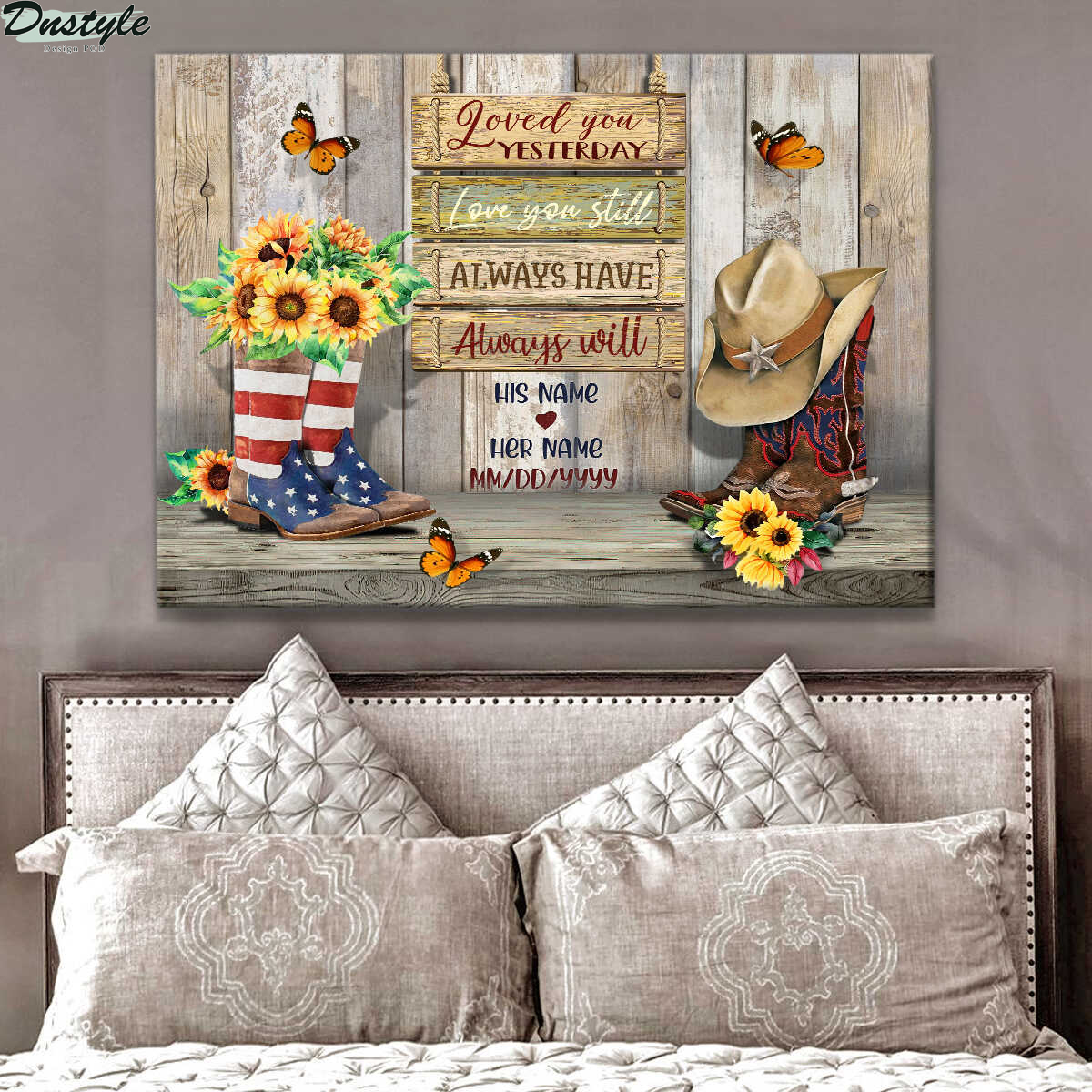 Personalized wedding anniversary love you yesterday love you still canvas 1