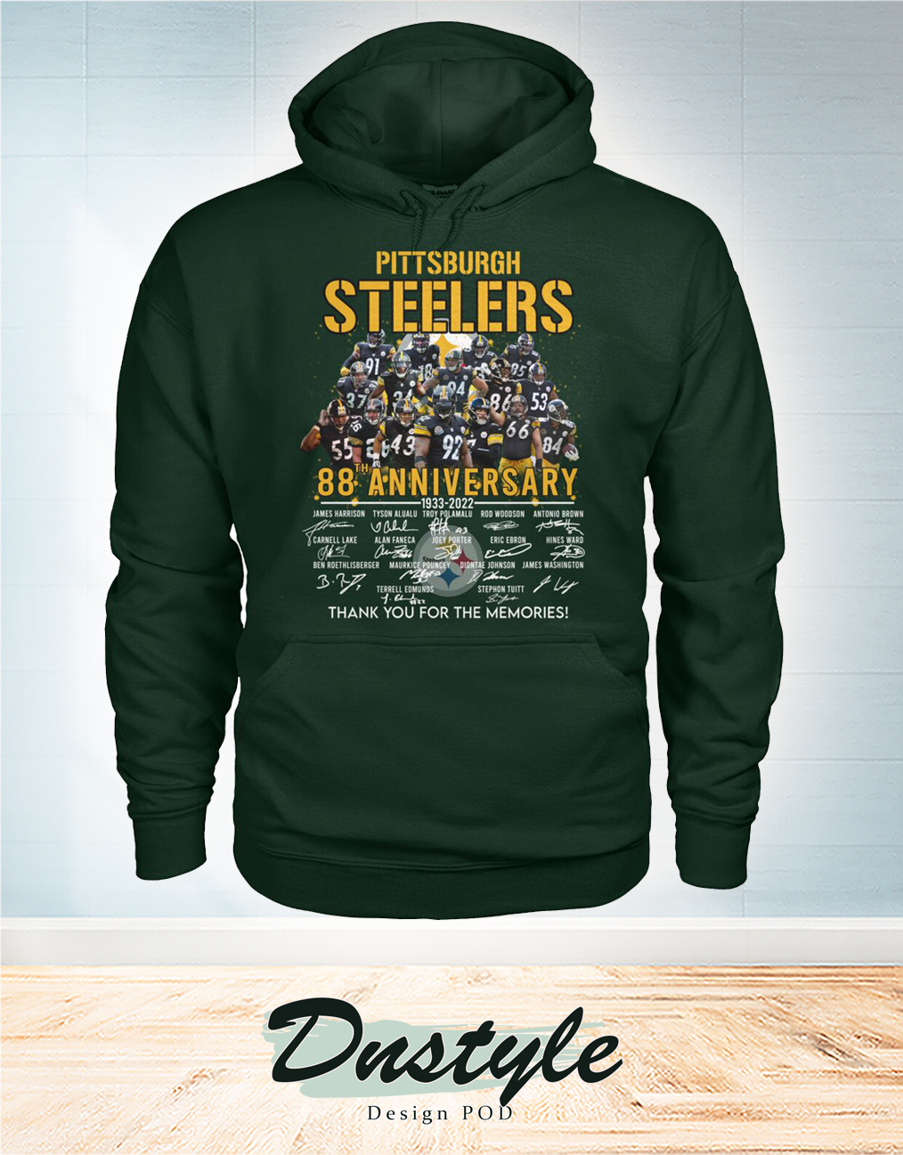 Pittsburgh steelers 88 anniversary signature thank you for the memories hoodie