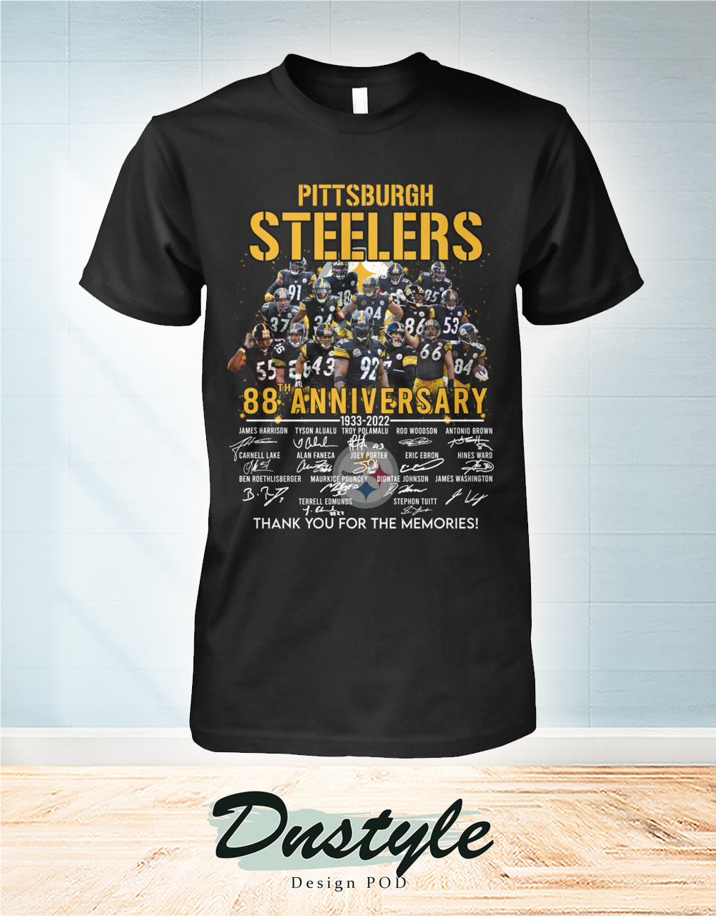 Pittsburgh steelers 88 anniversary signature thank you for the memories shirt