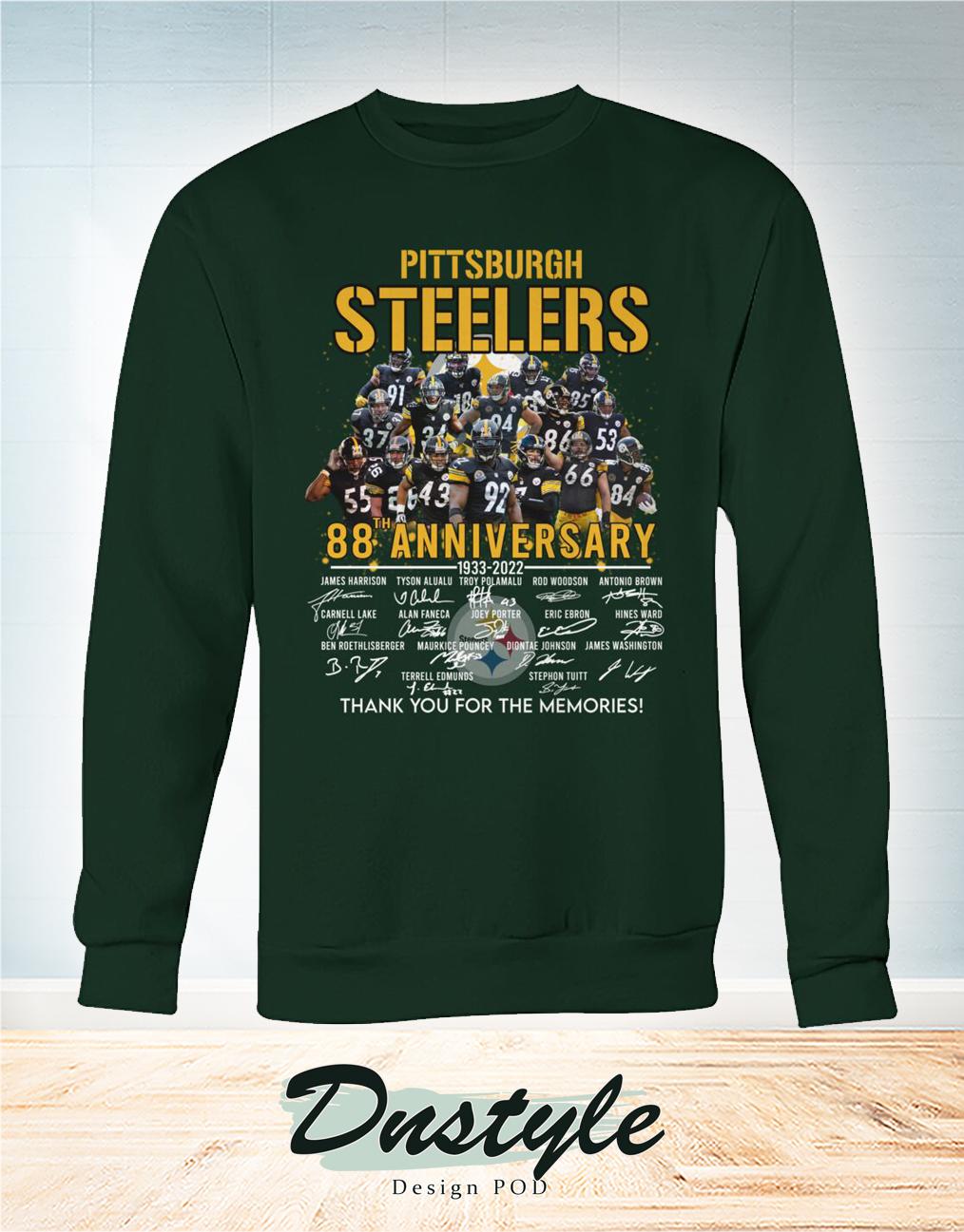 Pittsburgh steelers 88 anniversary signature thank you for the memories sweatshirt