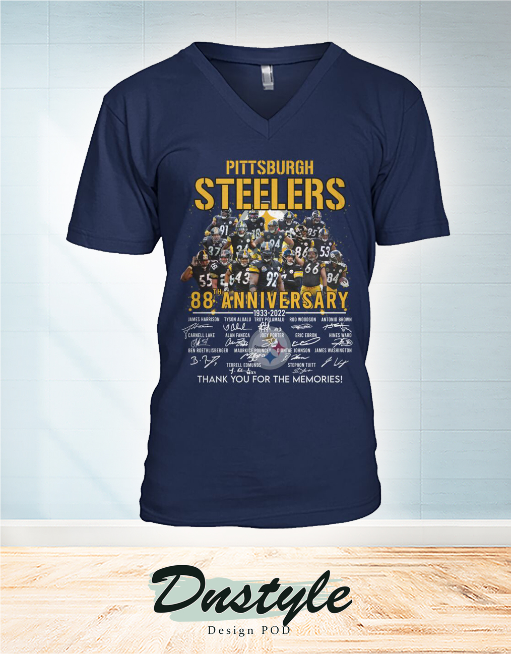 Pittsburgh steelers 88 anniversary signature thank you for the memories v-neck