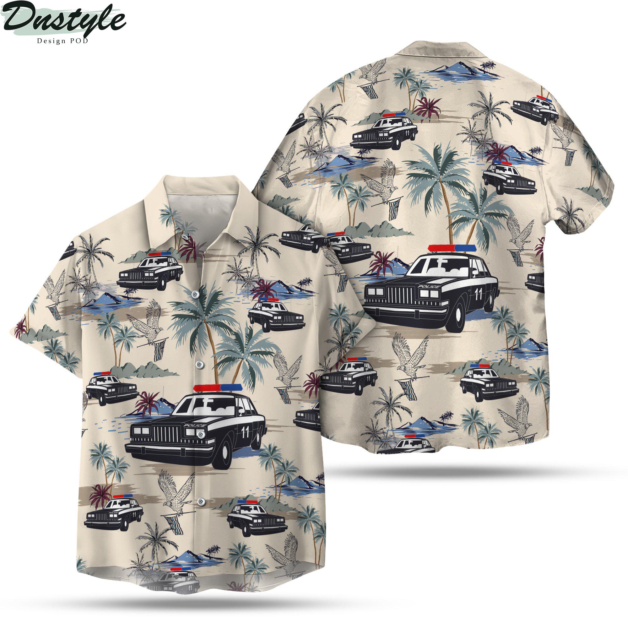 Police cars seamless pattern hawaiian shirt 1