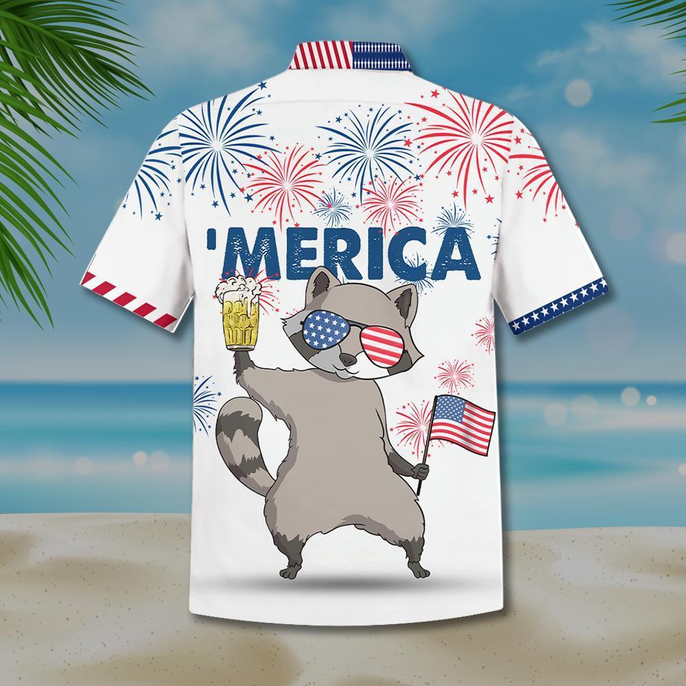Raccoon beer 'merica hawaiian shirt 1