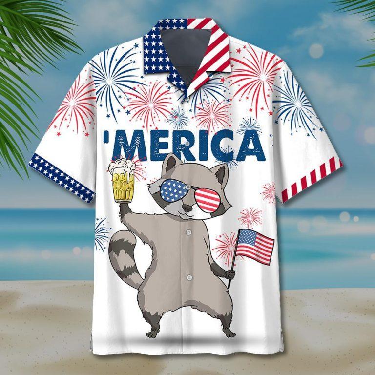 Raccoon beer 'merica hawaiian shirt