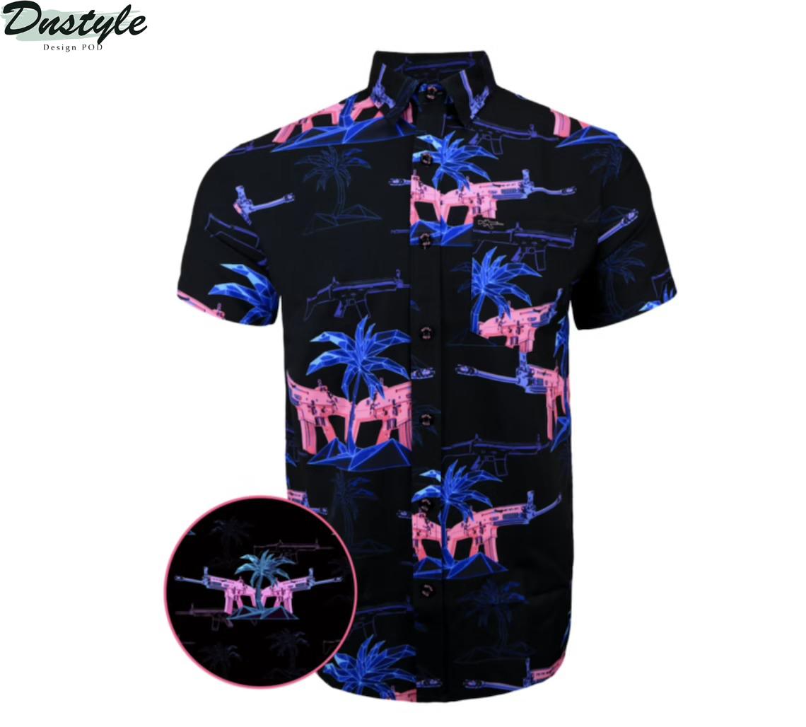 Second Amendment Miami Vice Themed Hawaiian Shirt