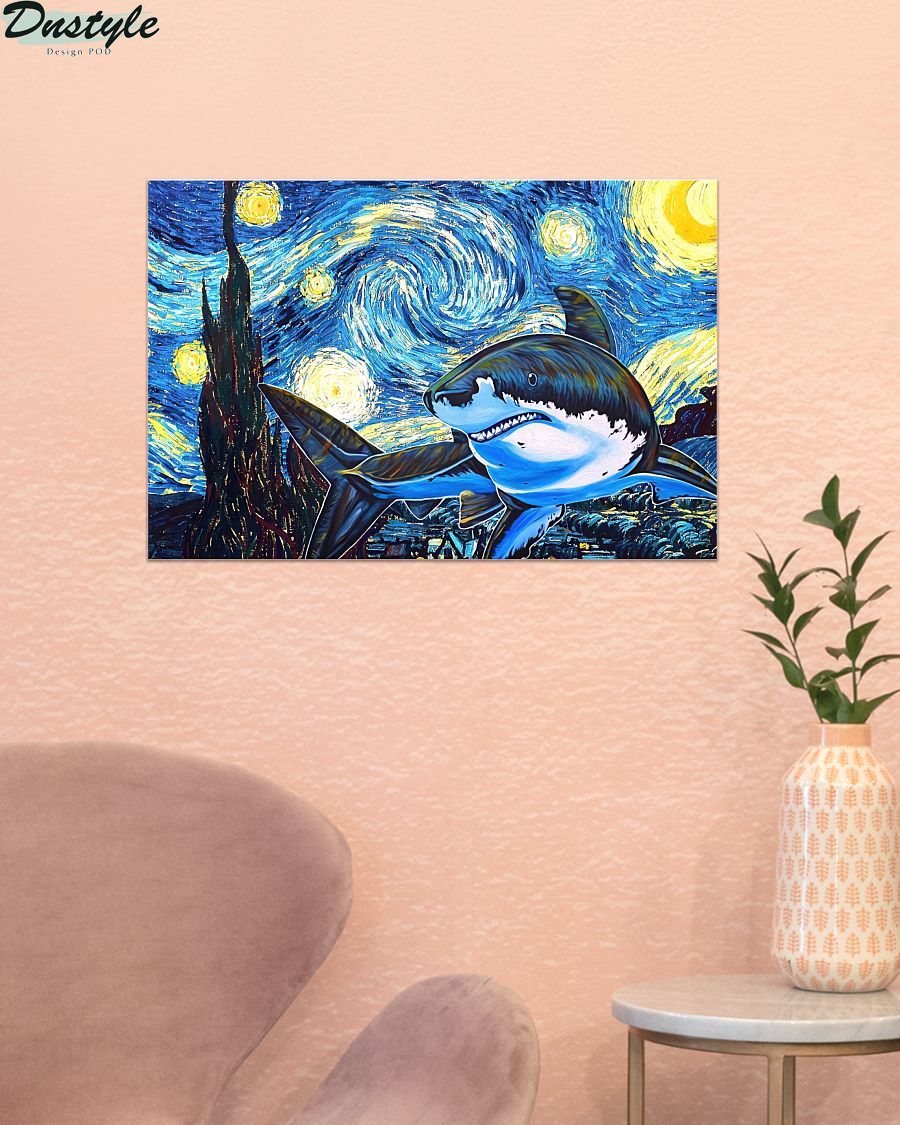 Shark starry night van gogh poster 1