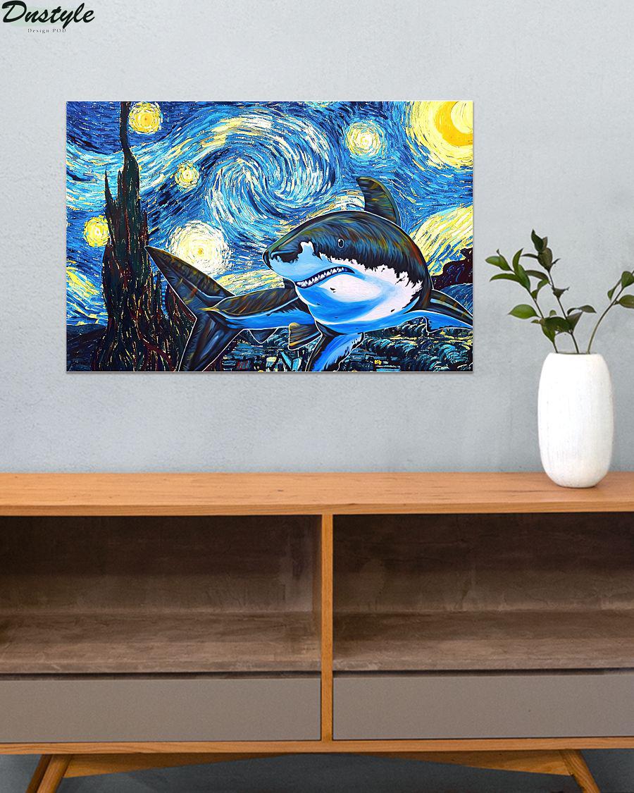 Shark starry night van gogh poster 2