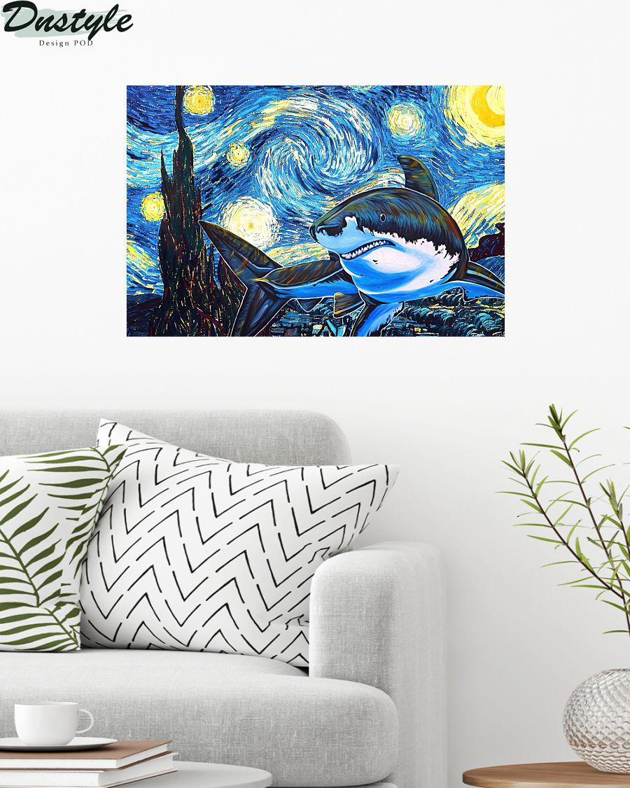 Shark starry night van gogh poster